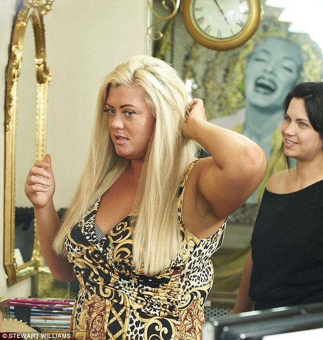 Nearly there: Gemma takes a break from the lengthy styling process