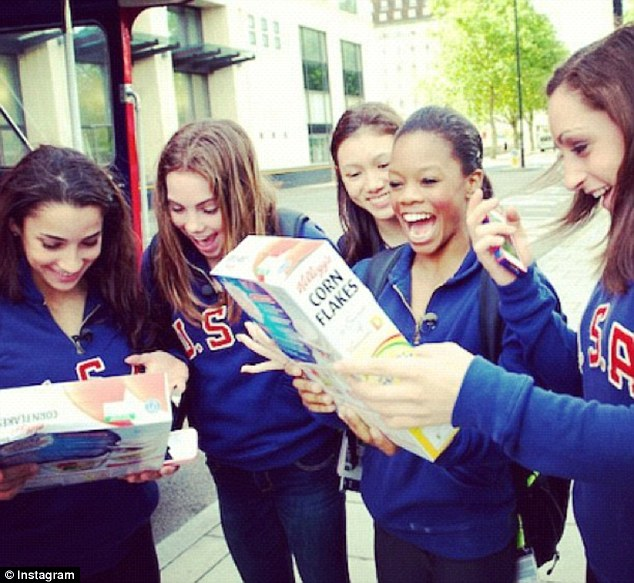 Team: Miss Douglas has been on a whirlwind tour following her London performance with her Fab Five teammates