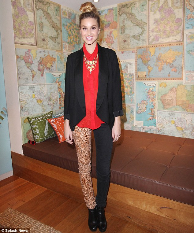 Her latest look: Whitney Port wore mis-matched pants for her in store appearance at Sportsgirl in Melbourne's Bourke street store on Thursday