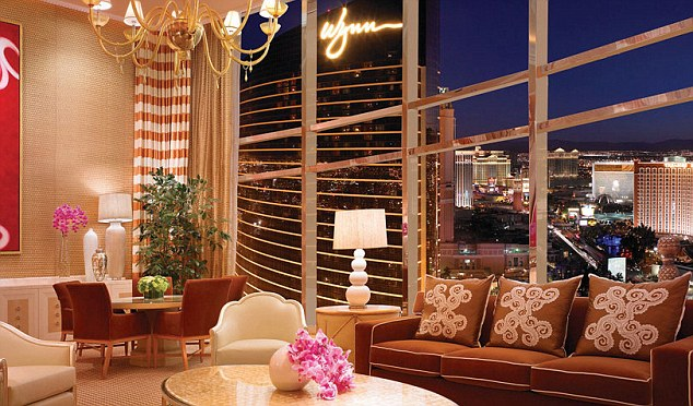 Opulent: The stunning living area boasts fantastic views over Las Vegas