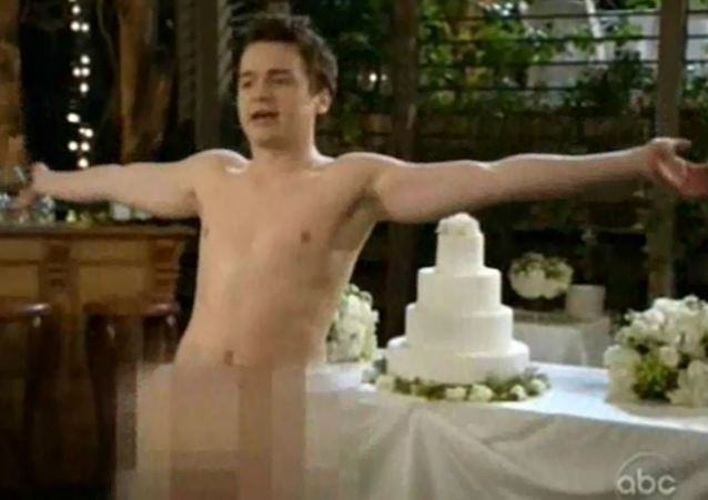 In the Buff: This shot from the May 29, 2012 episode of Cougar Town contributed to the shocking rise - 6,300 per cent - in cases of full front nudity on network television during the 2011-'12 season