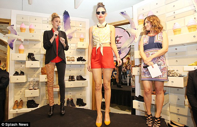 Playing it cool: The former The Hills star took the mic as she introduced pieces of the collection