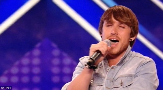 Singing to win: The 29-year-old was given a standing ovation by the judges and entire audience at the end of his performance