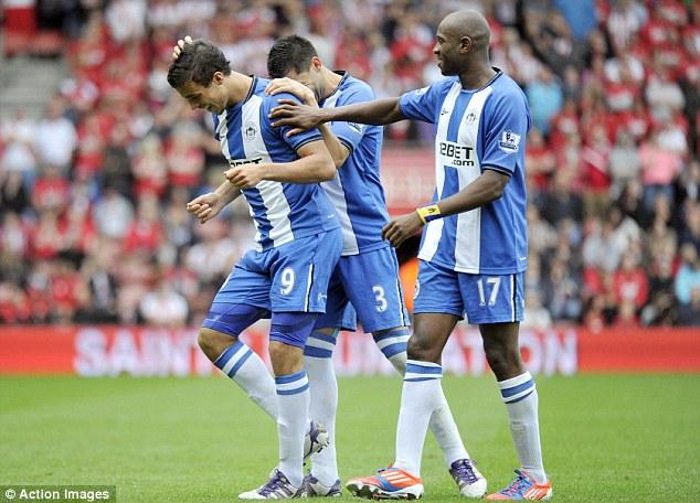 In front: Franco Di Santo (left) put Wigan ahead against Southampton