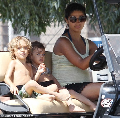 Soon-to-be mother-of-three: Not seen today were his pregnant wife Camila, four-year-old son Levi, and two-and-a-half-year-old daughter Vida