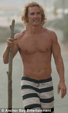 Big difference: The usually buff 42-year-old star, seen before and after his role in the 2008 film Surfer, Dude, kept his bony frame under loose clothes