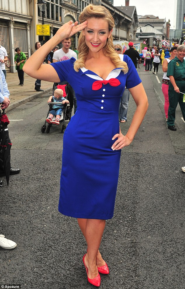Aye, aye: The actor gave a sailor's salute as she stood on the streets of Manchester, today
