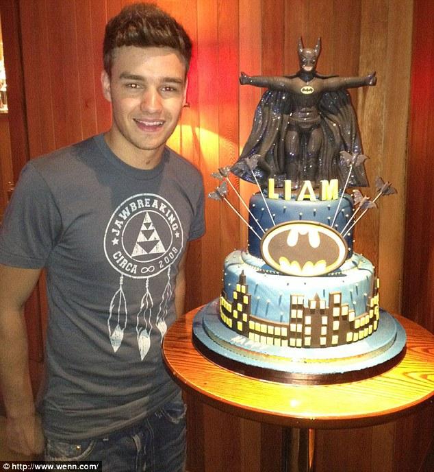 BatCake: Liam poses with his Batman birthday cake