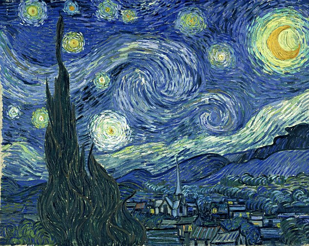 What we are used to seeing: The Starry Night, 1889, in it's original, unaltered state