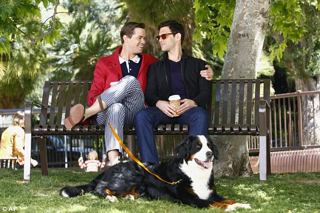 'Inappropriate': NBC affiliate KSL has opted not to air The New Normal. It stars Andrew Rannells as Bryan, left, and Justin Bartha as David - a gay couple who use a surrogate to have a baby