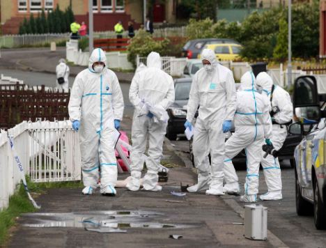 Vital link in investigations: A team of forensic officers comb a crime scene for clues (file picture)
