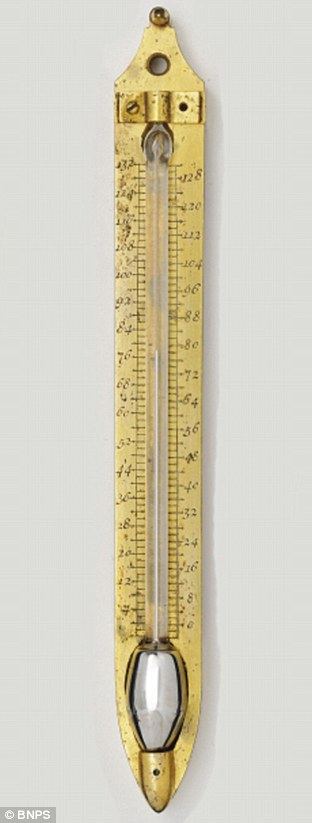 Mercury thermometer with Fahrenheit scale: One of Daniel Gabriel Fahrenheit's original thermometers that was thought to have been lost has now emerged