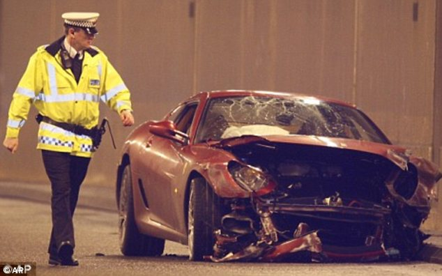 Wrecked: In 2009, United midfielder Christiano Ronaldo wrote off his £200,000 Ferrari 599 GTB Fiorano into a tunnel wall as he drove to United's training complex in Manchester