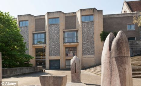 Winchester Crown Court (pictured) where the jury heard Cherry attacked punched his former girlfriend in the stomach and back, in a way which targeted her unborn child