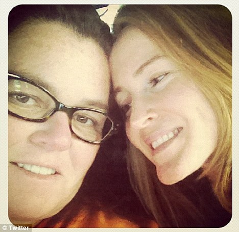 The look of love: Rosie O'Donnell tweeted a snap of herself with new wife Michelle Rounds today