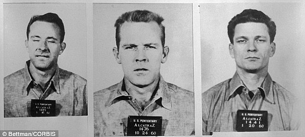 Mystery: Clarence Anglin, John William Anglin and Frank Lee Morris, pictured from left to right, escaped Alcatraz on a raft made from raincoats. No trace of them was ever found
