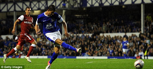 Quick learner: Kevin Mirallas scores on his first start for Everton