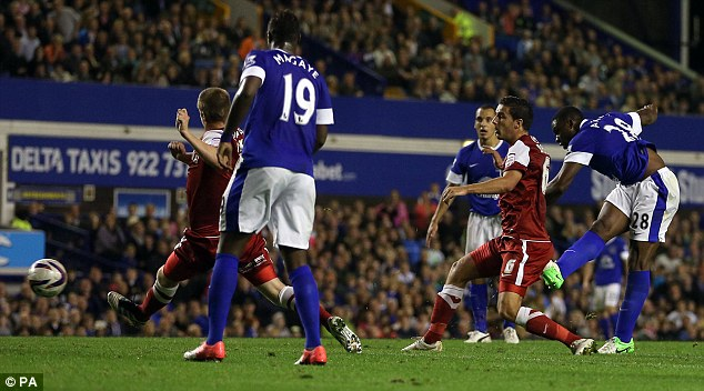 Four-midable: Victor Anichebe (right) netted Everton's fourth goal