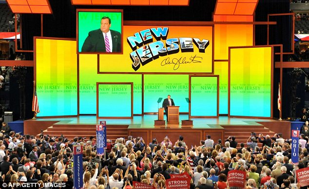 Raucous: The packed crowd welcomed Mr Christie's aggressive speech