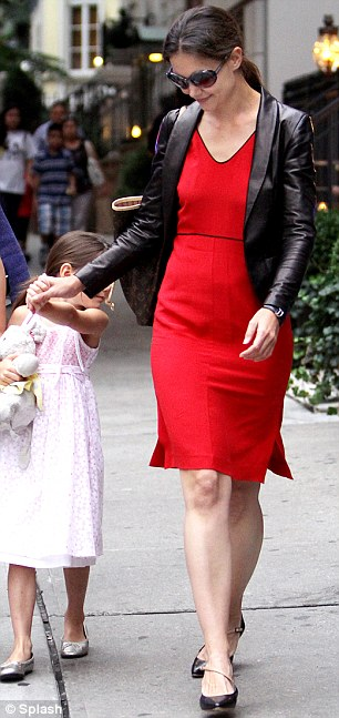Designer moves: Katie Holmes, pictured earlier this month with Suri Cruise, has spent a large amount of money on lingerie and shoes