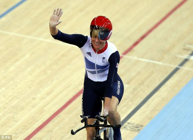 Sarah Storey celebrates after winning gold in the women's individual C5 pursuit cycling