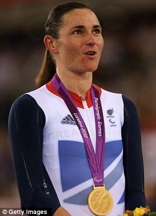 Sarah Storey on the podium after winning the gold
