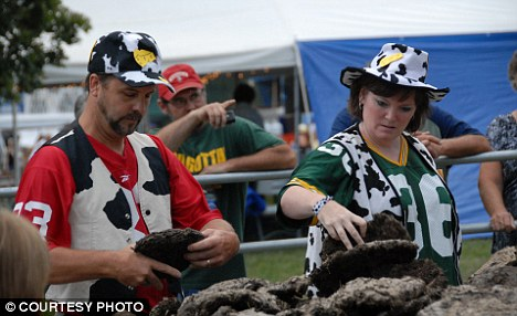 Choice pick: Competitors choose from the low supplies of cow chips at the Wisconsin festival that this year will be themed 'Pirates of the Cowwibean'