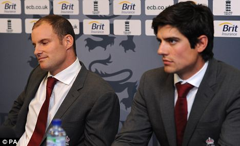 Past and present: Strauss (left) and Alastair Cook