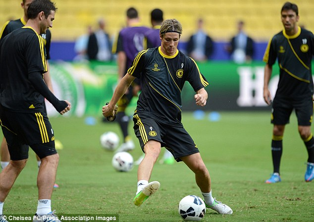 Raring to go: Chelsea's Fernando Torres during training ahead of the Super Cup