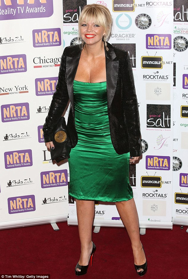 Not green with envy: Kate Thornton wore an unflattering satin dress with a black sequin blazer