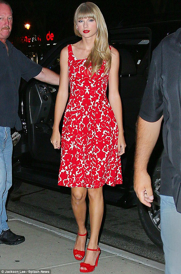 Lady in red: Swift made her way to MTV today to premiere the new music video