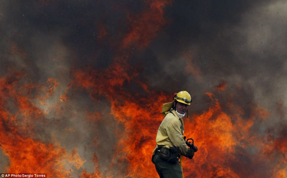 Wall of flame: A firefighter bravely battles to quell the inferno which as continued its journey towards the Costa del Sol. Thousands of people, including hundreds of Britons, have been evacuated because of the blaze