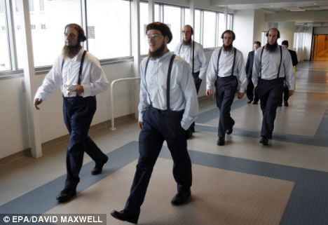 Court: Amish men leave the federal courthouse in Cleveland, Ohio