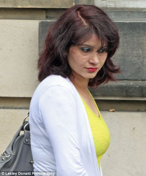Yamakala Sapkota at Edinburgh High Court today where a judge decided to suspend a custodial sentence because she was 'out of her mind' when she set fire to herself