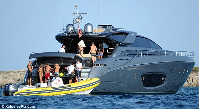 Luxury: Naomi and her pals are holidaying on a lavish yacht off the coast of Ibiza