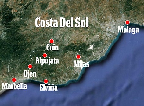 Blaze region: The fire sweeping the Costa Del Sol was believed to have  been deliberately started in Coin and has swept from the holiday resort of Marbella to as far as Malaga