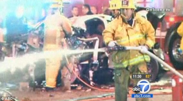 Chaotic: Witnesses said the crash seemed unreal, and the car flipped over several times before coming to rest