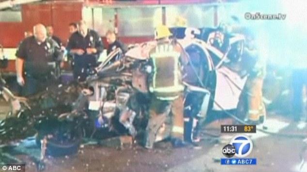 Early morning: The crash at 1298 S. La Brea Avenue, near San Vicente Boulevard, happened at 3:56 a.m.