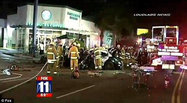 Scene: Fire crews were quick to respond to the accident; no one else was hurt in the crash