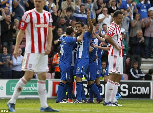 Franc you very much: Wigan's Franco Di Santo celebrates Wigan's second