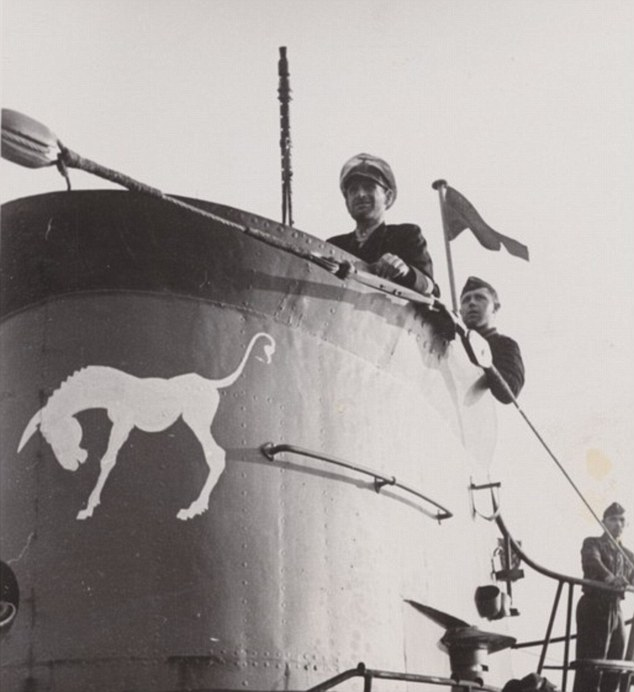 The U559 was wallowing low in the water and its white painted donkey - its distinctive motif (pictured) - was clearly visible on the conning tower