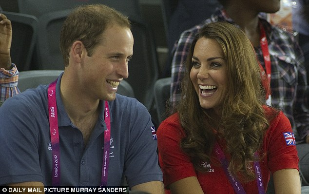 Happy couple: The Duke and Duchess of Cambridge enjoyed some quality time together watching the Olympic cyclists in the velodrome