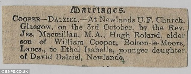 Cherished mementos: The mementos saved by Mrs Dalziel family includes a newspaper announcement from 1908