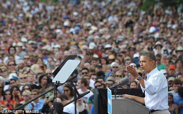 Campaigning: US President Barack Obama was speaking at a campaign event in Colorado today