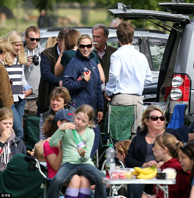 Zara Phillips judges the Land Rover Tailgate Picnic competition during the Burghley Horse Trials at Burghley Park