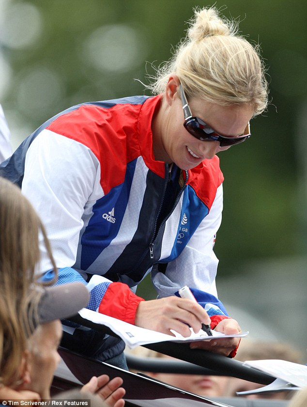 Olympic Sliver medal winner  Zara Phillips signs autographs at Burghley Horse Trials 2012
