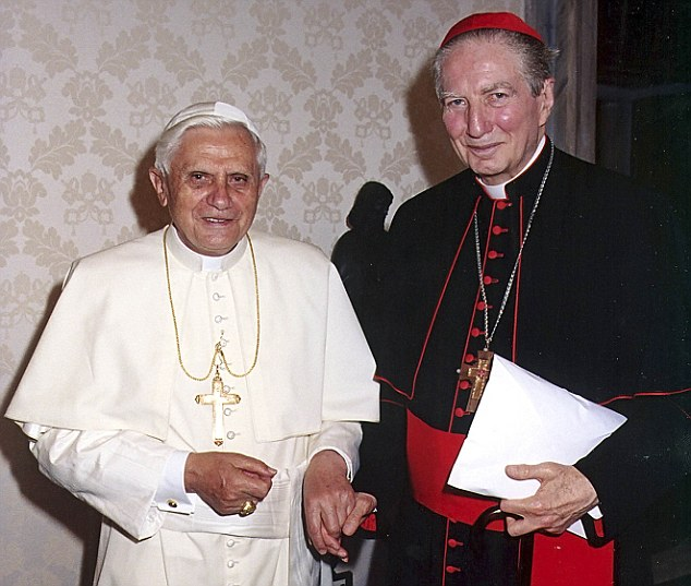 Italian Cardinal Carlo Maria Martini, right, pictured with Pope Benedict XVI in 2005 launched a scathing critique of the church in his final interview before his death on Friday