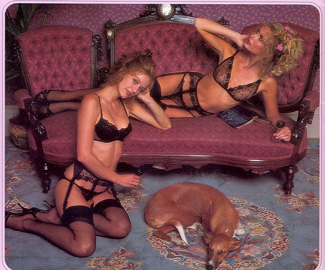 It's a dog's life! The women pose with a sleeping dog and lounge on a chaise-long