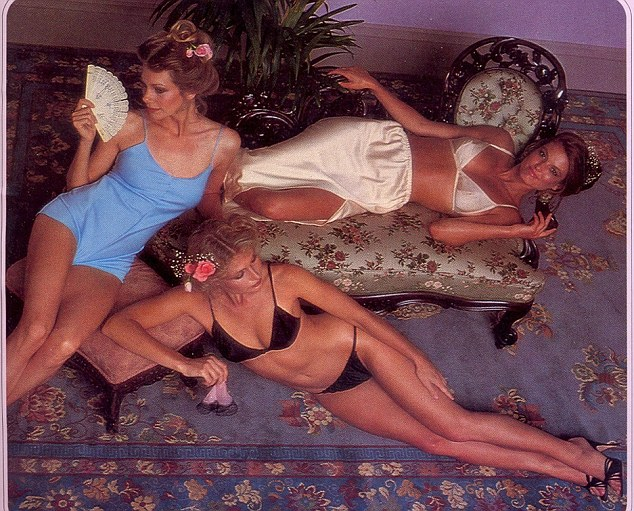 The decor of the shoot is a far cry from today's super glamorous shoots as the women lay fanning themselves on an ill-patterned carpet