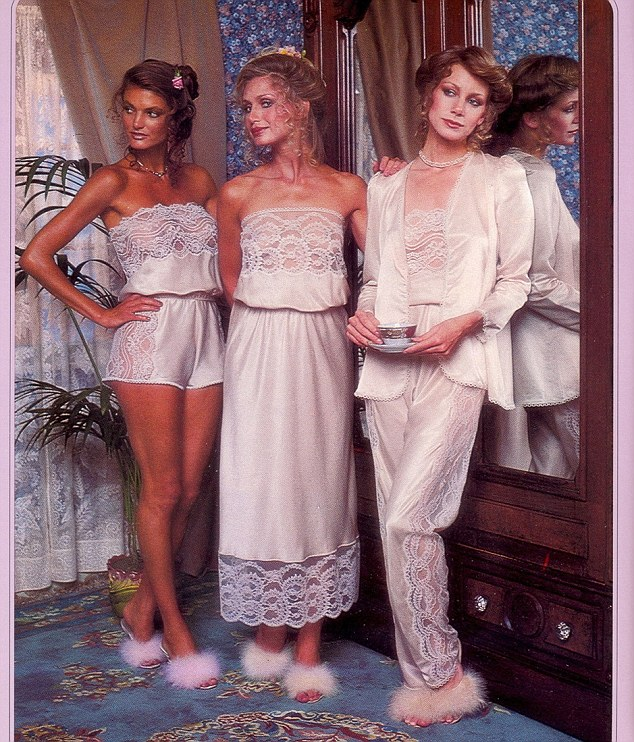 The models look classy and elegant in their demure lace pajamas and fluffy slippers